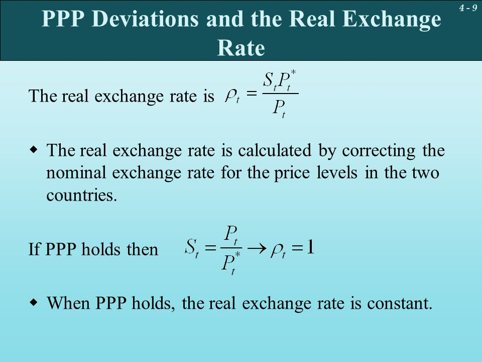 PPP Deviations and the Real Exchange Rate