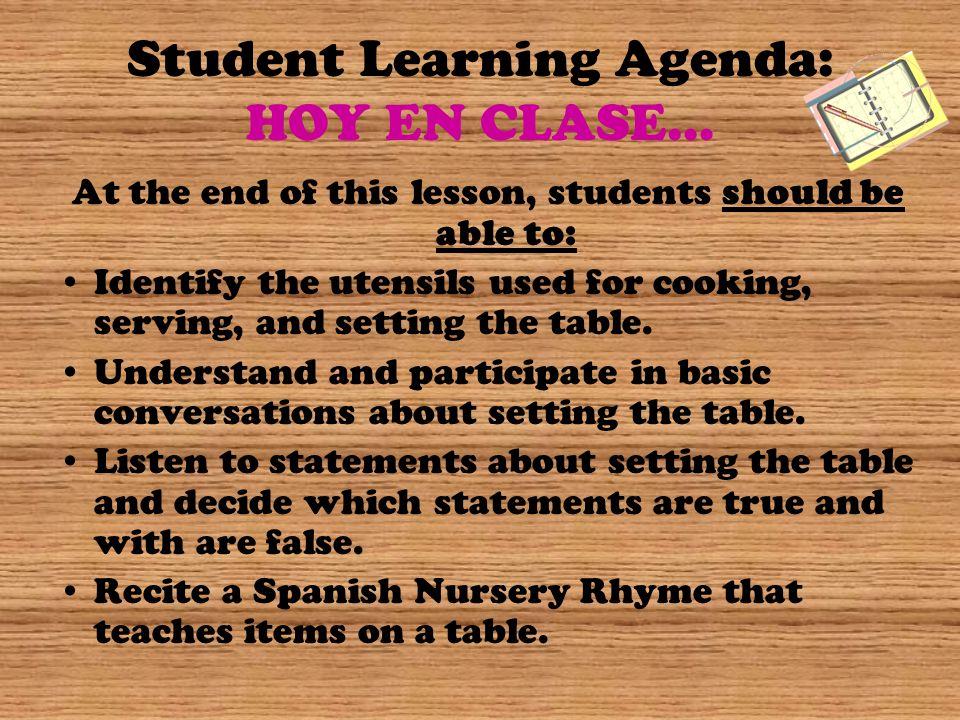 Student Learning Agenda: HOY EN CLASE…