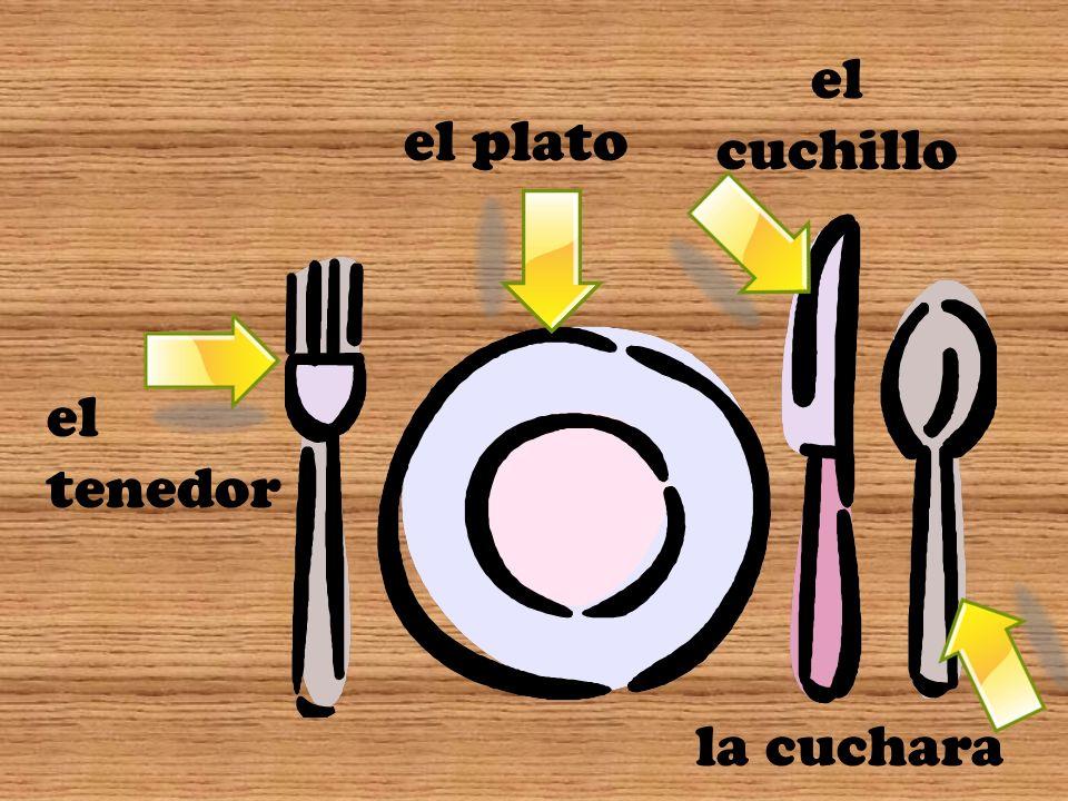 el cuchillo el plato el tenedor la cuchara