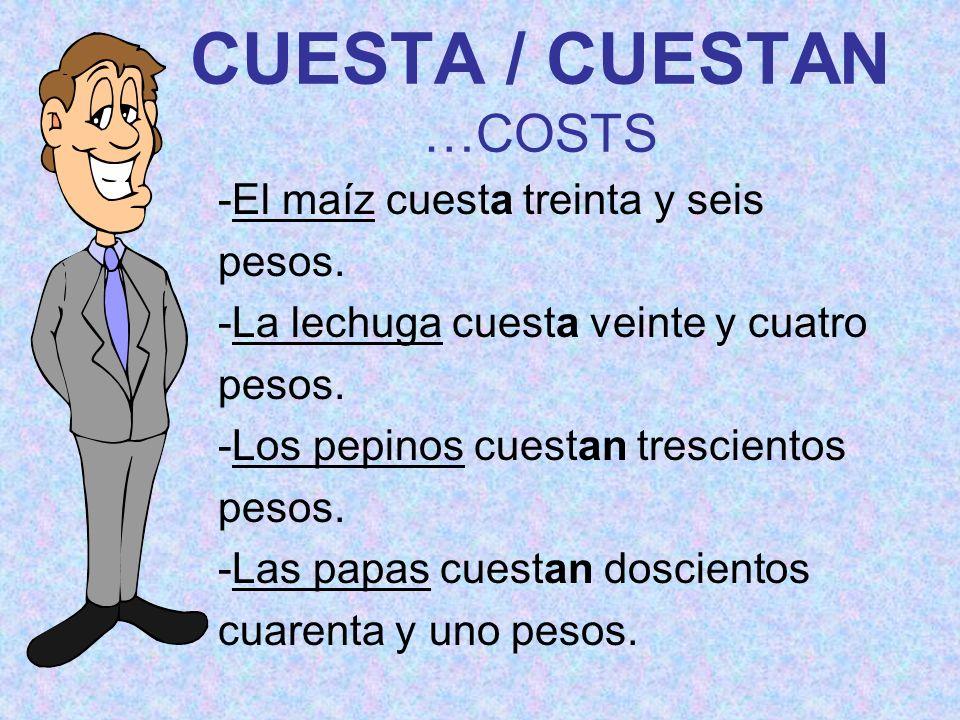 CUESTA / CUESTAN …COSTS