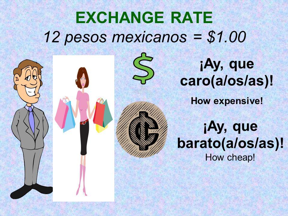 EXCHANGE RATE 12 pesos mexicanos = $1.00