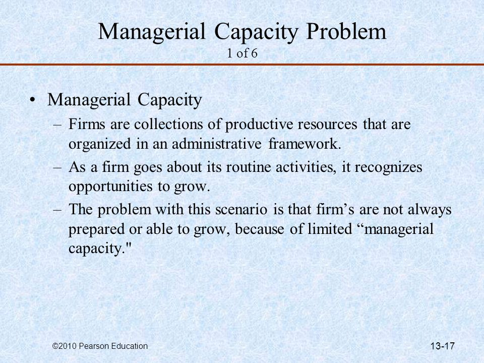 Managerial Capacity Problem 1 of 6