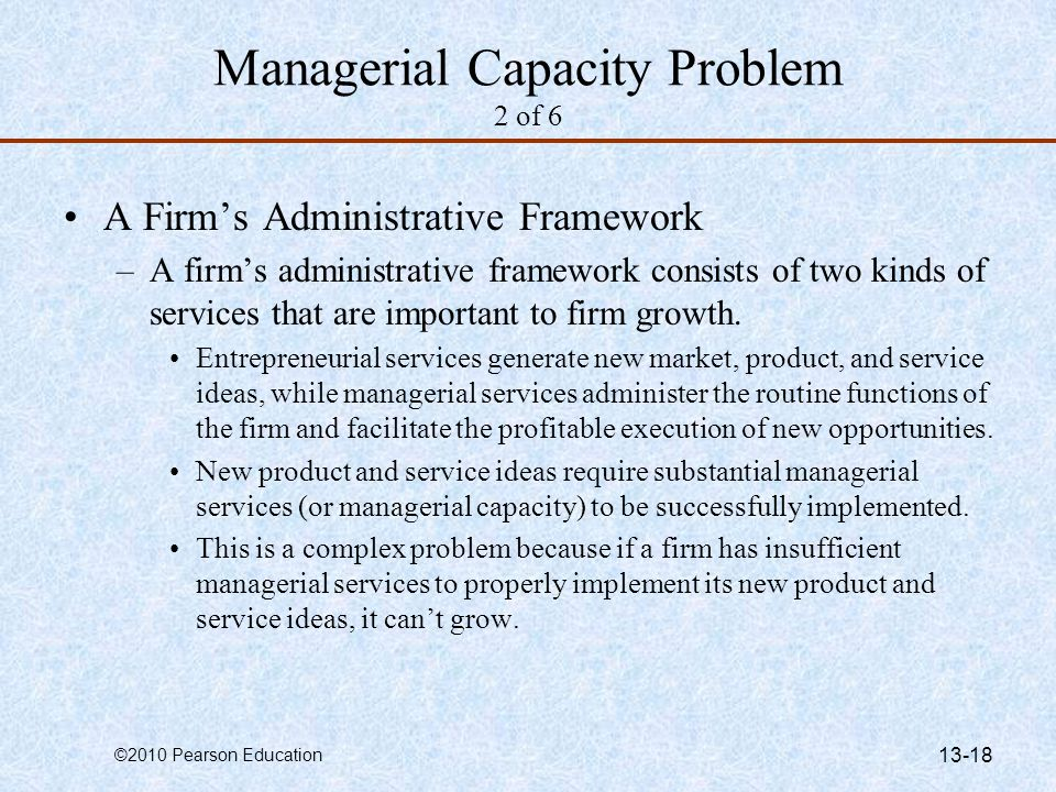 Managerial Capacity Problem 2 of 6