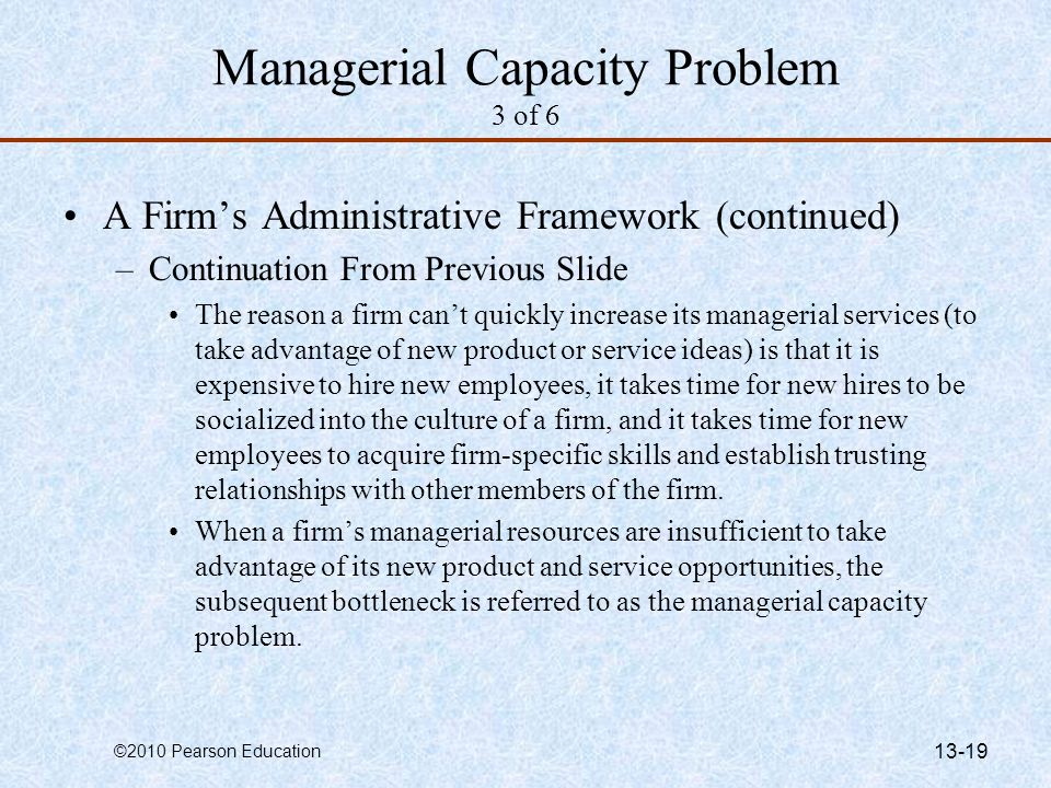 Managerial Capacity Problem 3 of 6