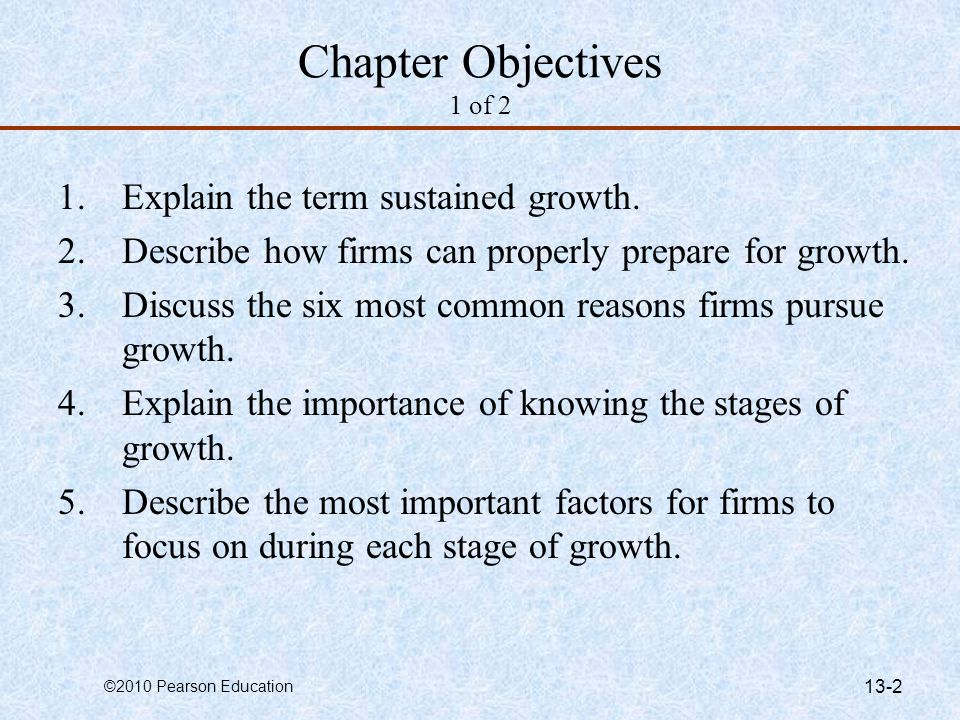 Chapter Objectives 1 of 2 Explain the term sustained growth.