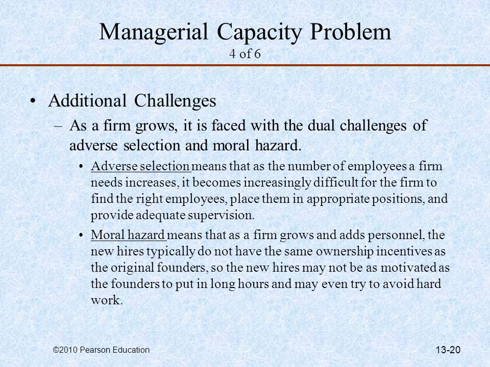 Managerial Capacity Problem 4 of 6