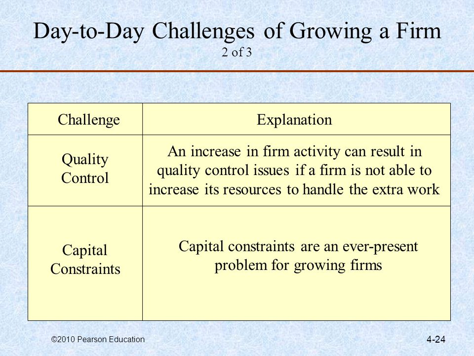 Day-to-Day Challenges of Growing a Firm 2 of 3