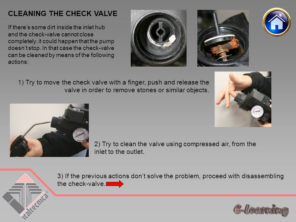 E-Learning CLEANING THE CHECK VALVE