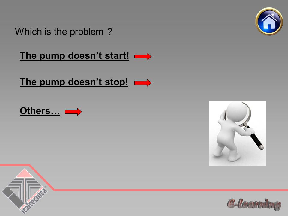 Which is the problem The pump doesn't start! The pump doesn't stop!