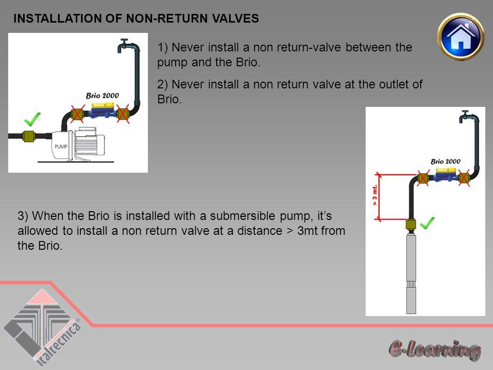 E-Learning INSTALLATION OF NON-RETURN VALVES