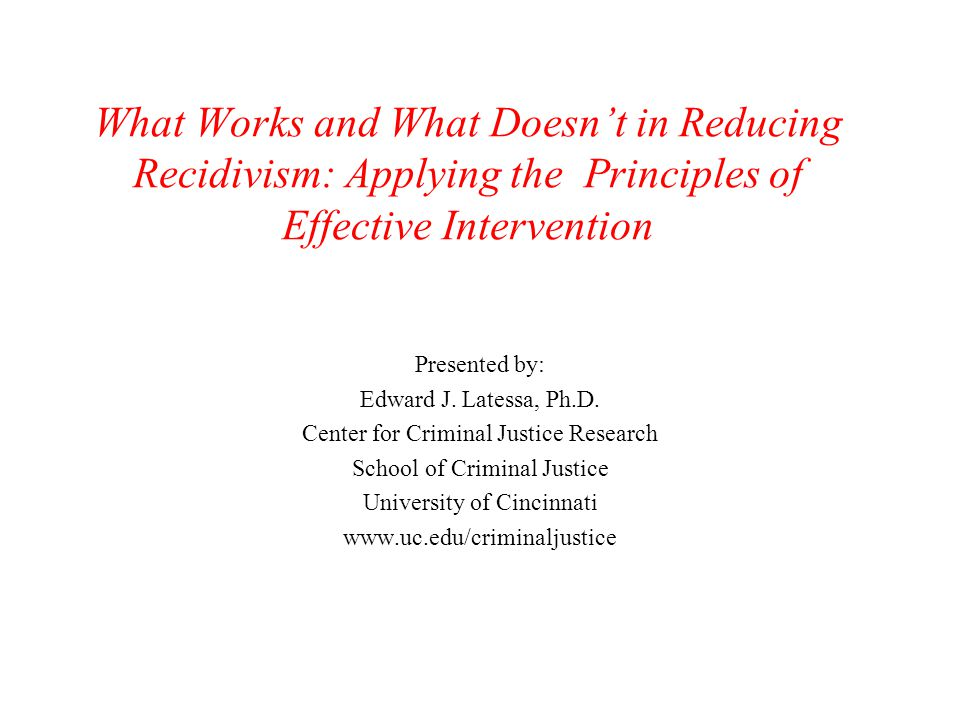What Works and What Doesn't in Reducing Recidivism: Applying the Principles of Effective Intervention