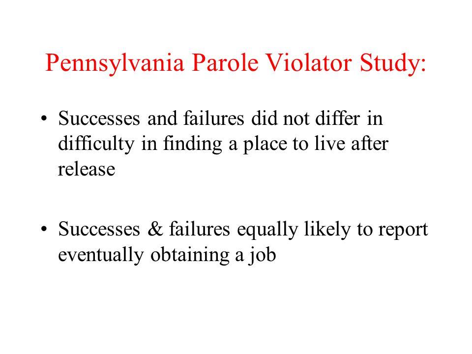 Pennsylvania Parole Violator Study: