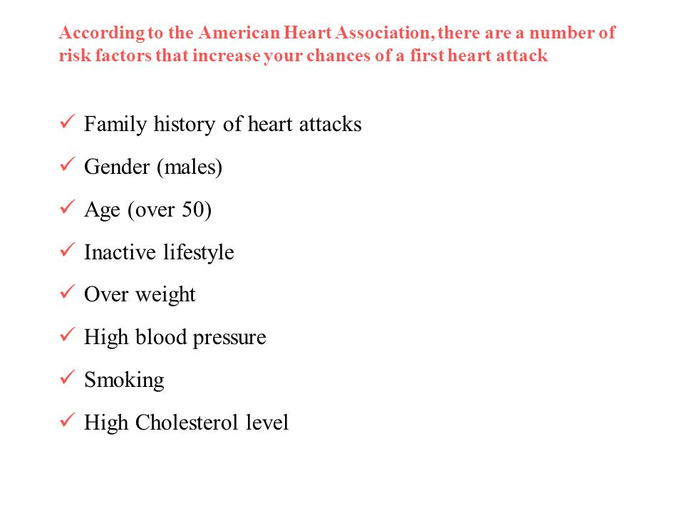Family history of heart attacks Gender (males) Age (over 50)