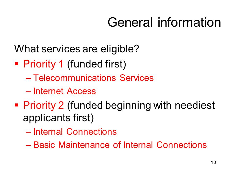 General information What services are eligible