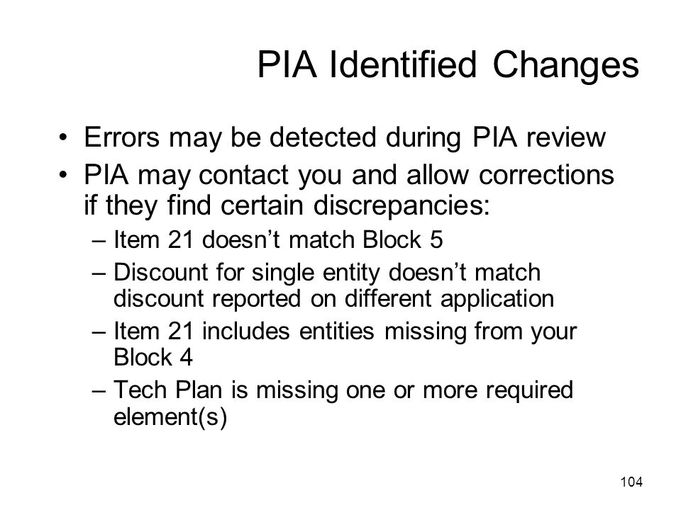 PIA Identified Changes
