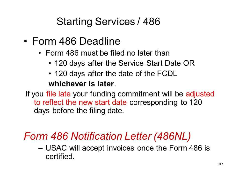 Form 486 Notification Letter (486NL)
