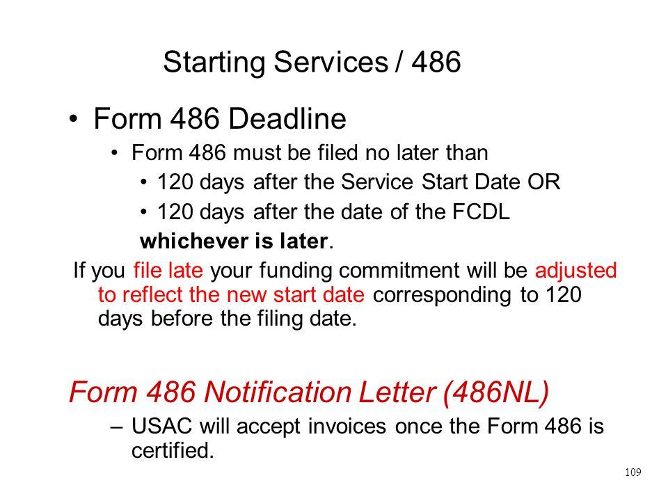 Form 486 Notification Letter (486NL)