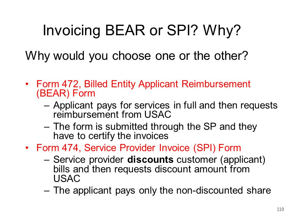 Invoicing BEAR or SPI Why