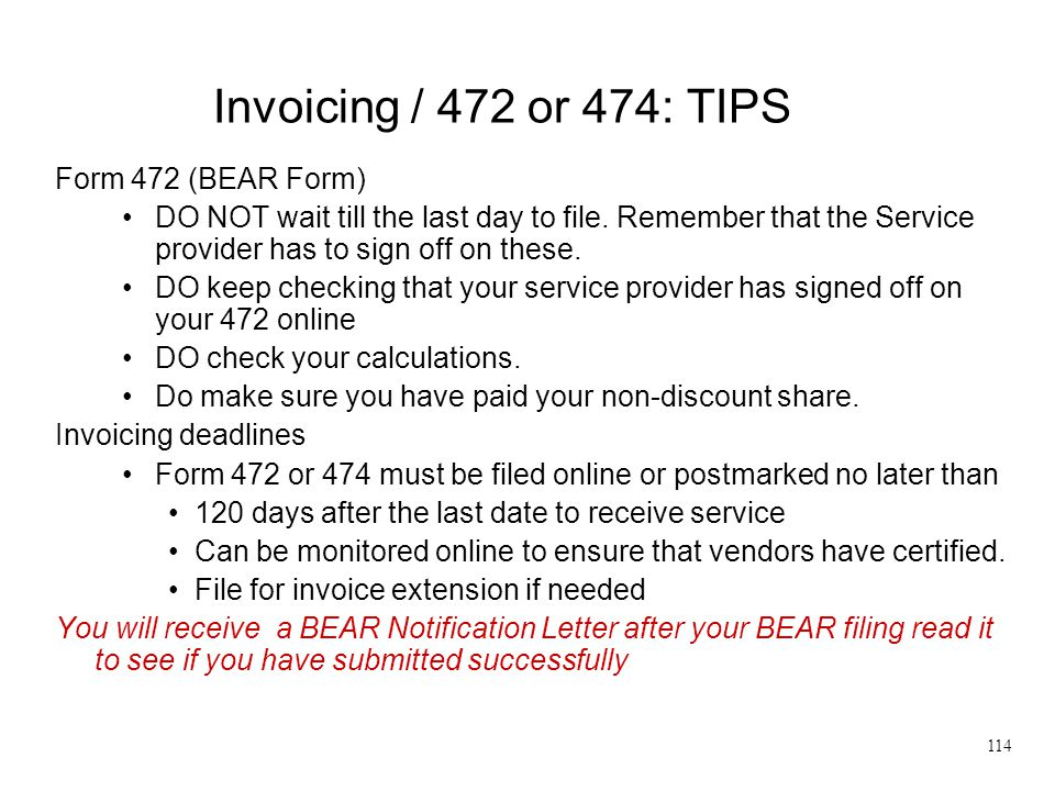 Invoicing / 472 or 474: TIPS Form 472 (BEAR Form)