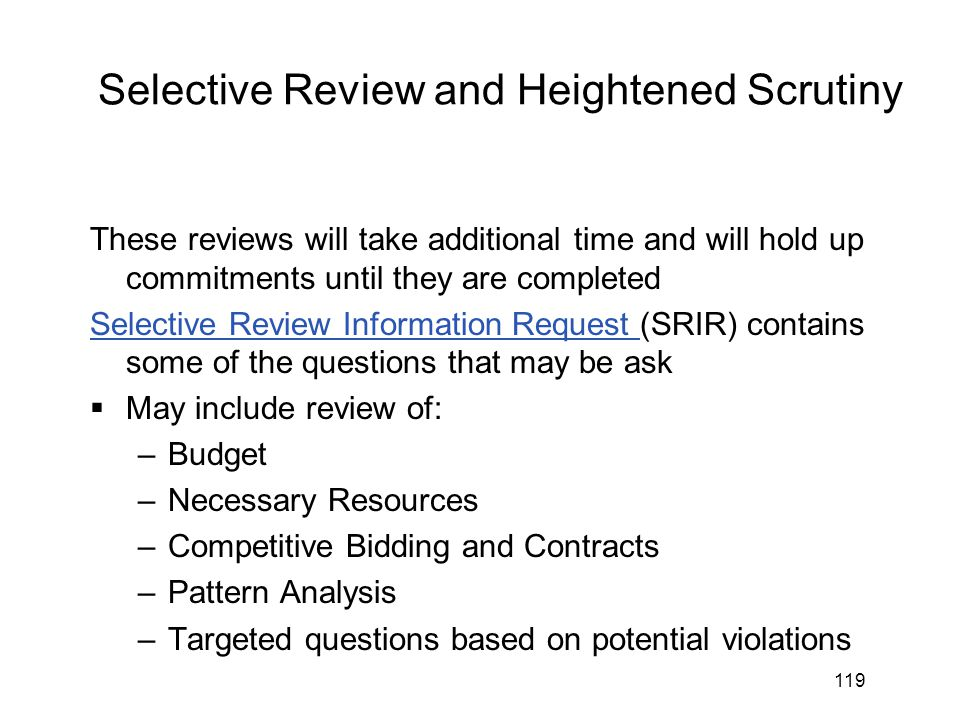 Selective Review and Heightened Scrutiny
