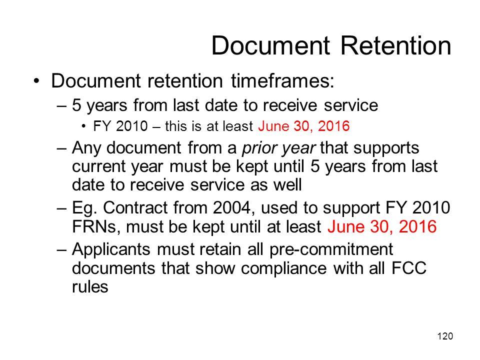 Document Retention Document retention timeframes: