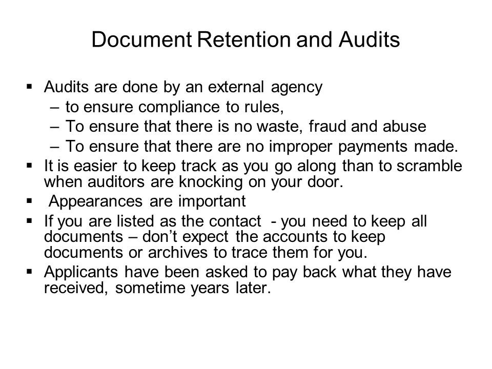 Document Retention and Audits