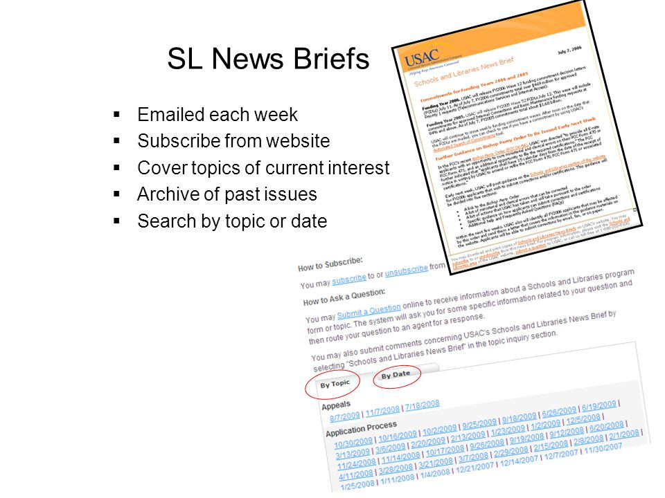 SL News Briefs Emailed each week Subscribe from website