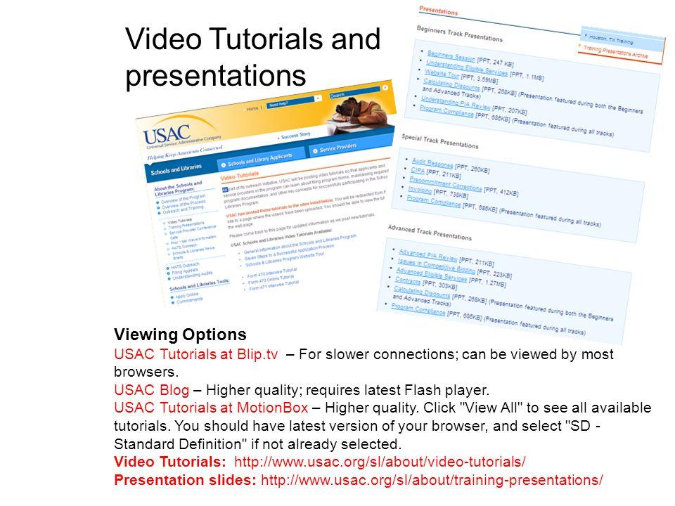 Video Tutorials and presentations