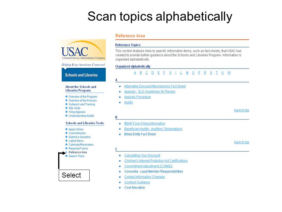 Scan topics alphabetically