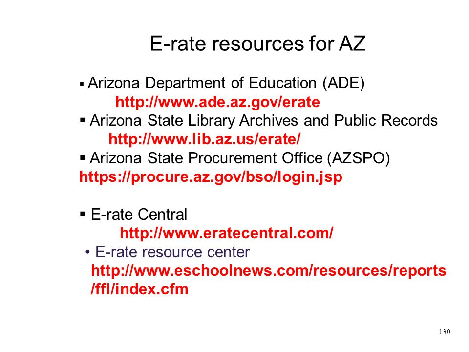 E-rate resources for AZ