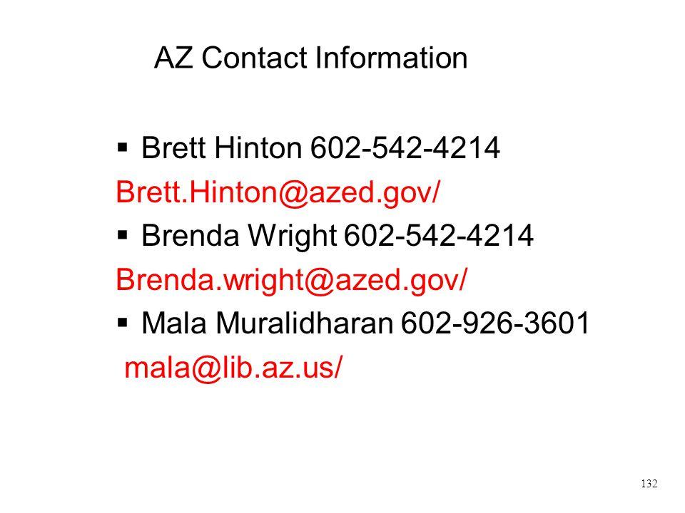 Brett.Hinton@azed.gov/ Brenda Wright 602-542-4214