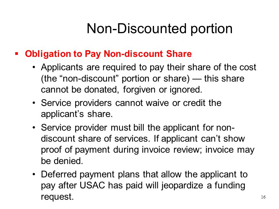 Non-Discounted portion