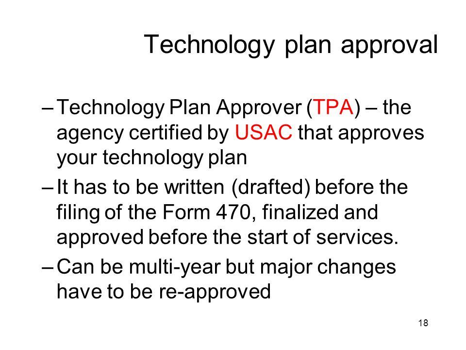 Technology plan approval