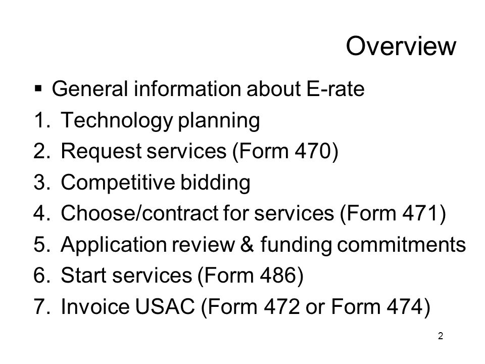 Overview General information about E-rate Technology planning