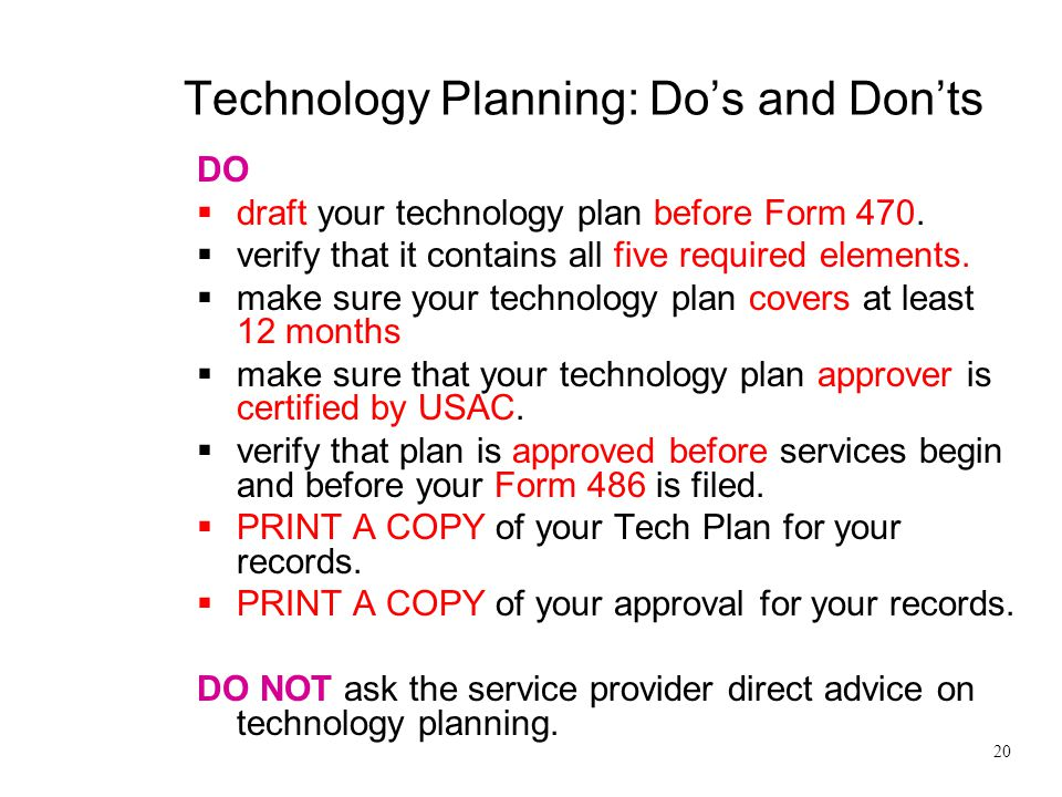 Technology Planning: Do's and Don'ts