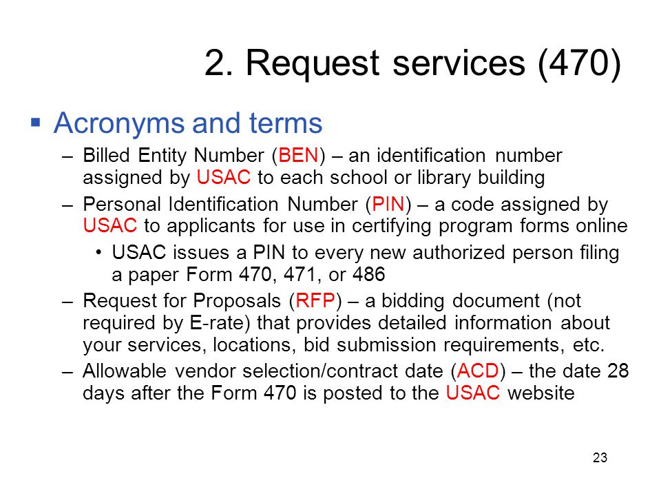 2. Request services (470) Acronyms and terms