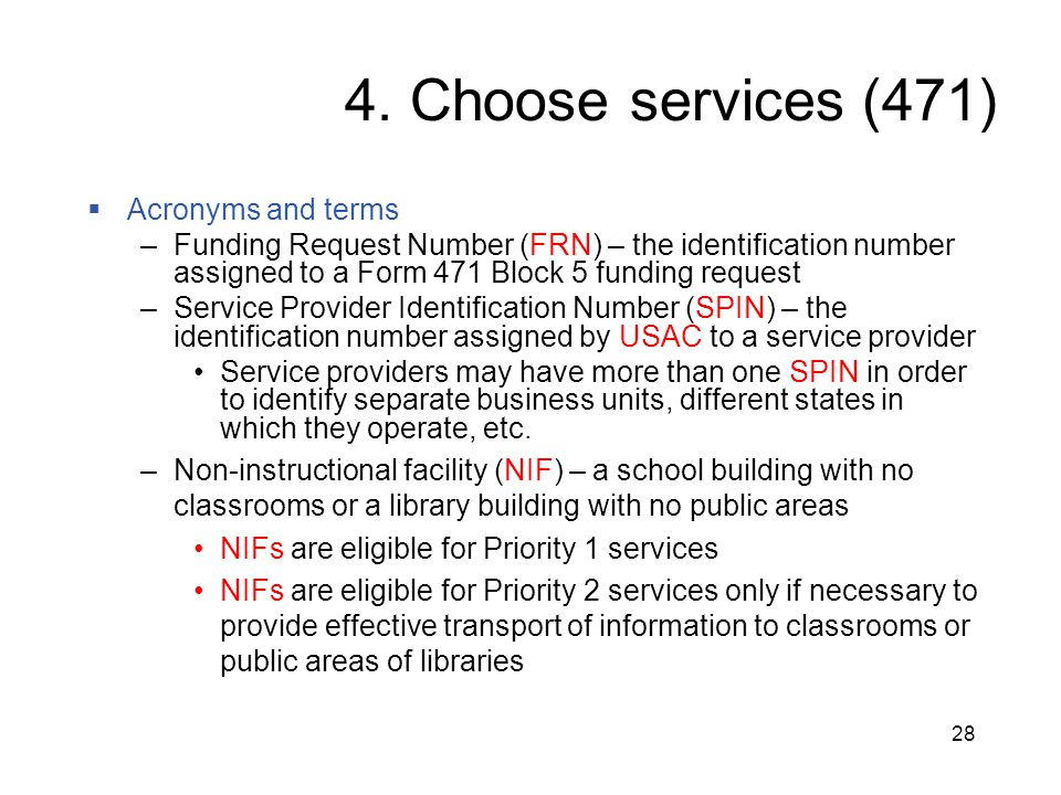 4. Choose services (471) Acronyms and terms