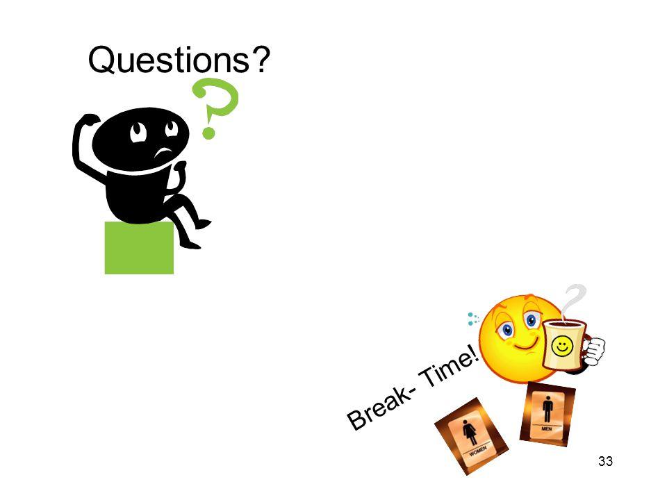 Questions Break- Time!