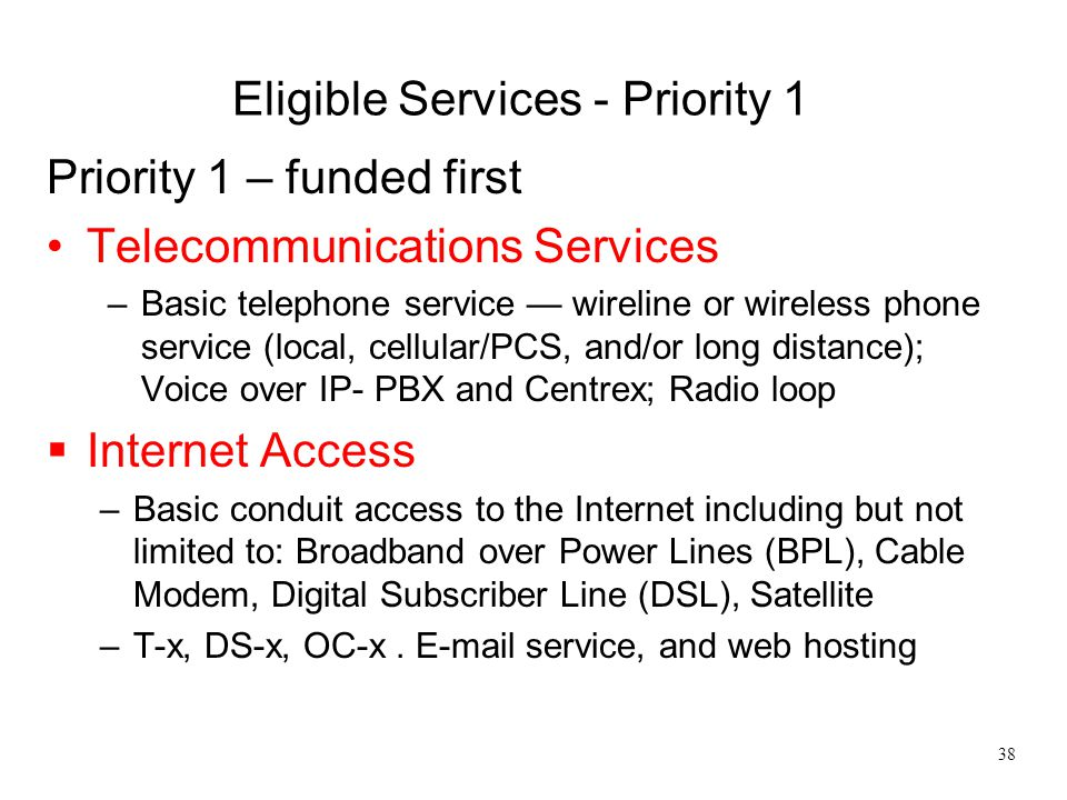 Eligible Services - Priority 1