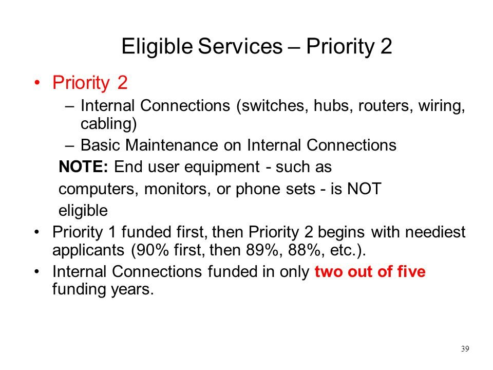 Eligible Services – Priority 2