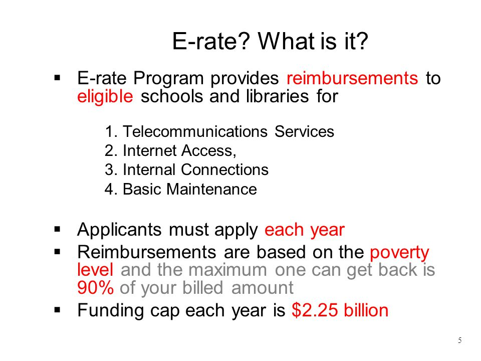 E-rate What is it E-rate Program provides reimbursements to eligible schools and libraries for. Telecommunications Services.
