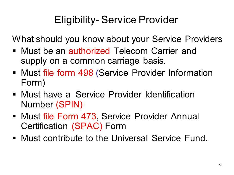 Eligibility- Service Provider