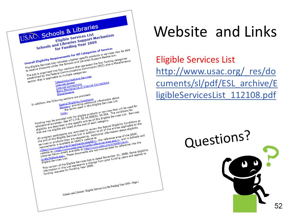 Website and Links Questions Eligible Services List