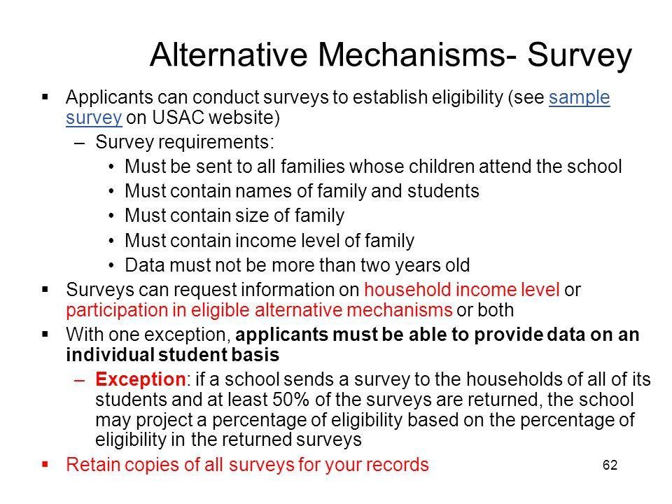 Alternative Mechanisms- Survey