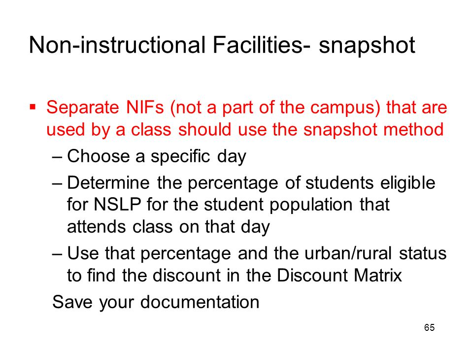Non-instructional Facilities- snapshot
