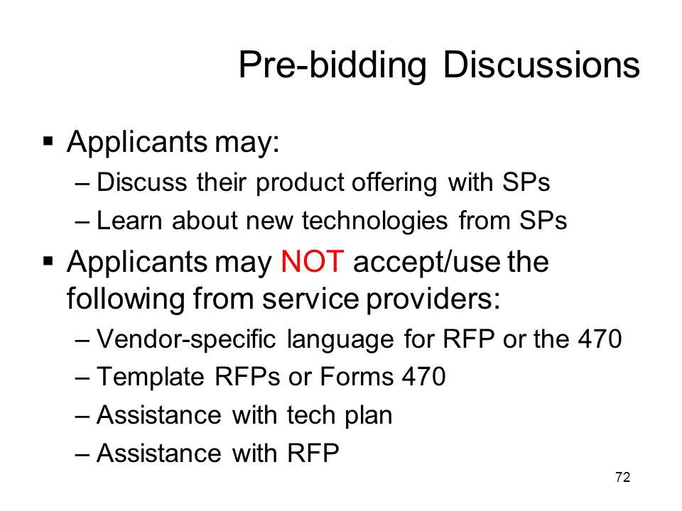 Pre-bidding Discussions
