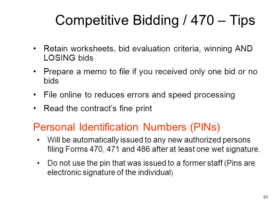 Competitive Bidding / 470 – Tips