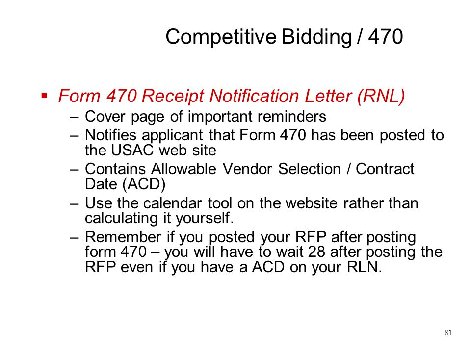 Competitive Bidding / 470 Form 470 Receipt Notification Letter (RNL)