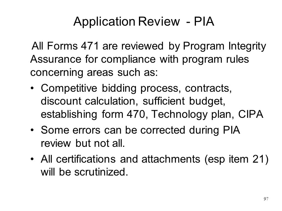 Application Review - PIA