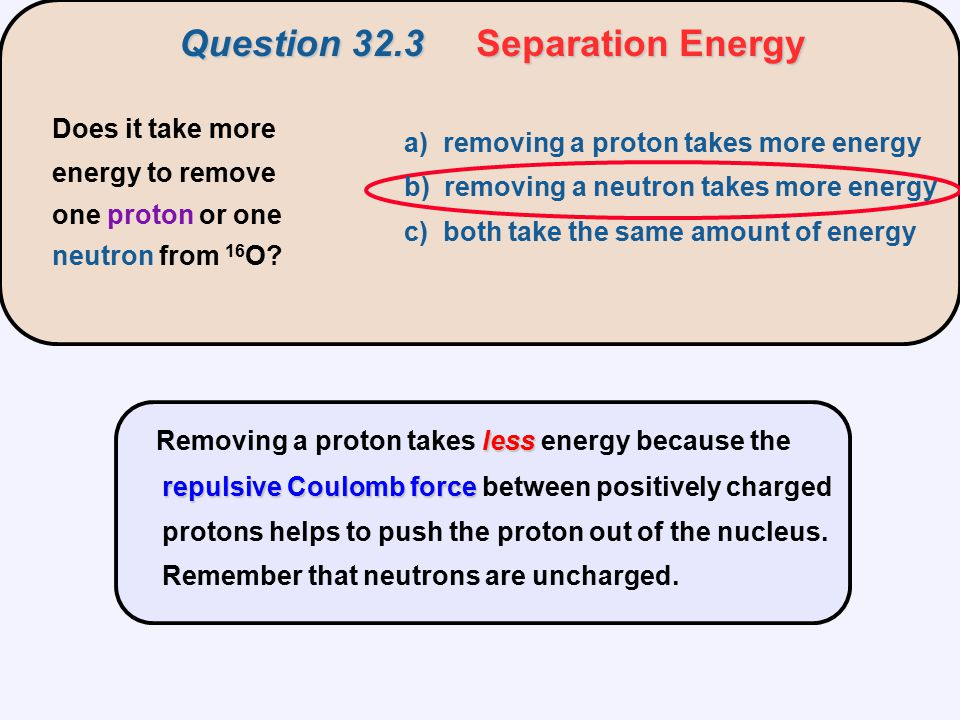 Question 32.3 Separation Energy